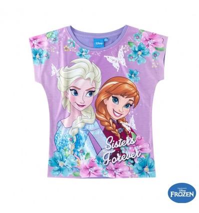 Tricou fete Elsa si Anna Frozen mov