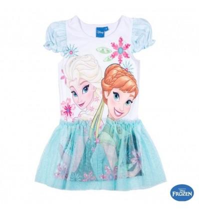 Tricou tulle Elsa Si Anna Frozen alb