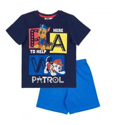 Pijamale maneca scurta Patrula Catelusior bleumarin/albastru
