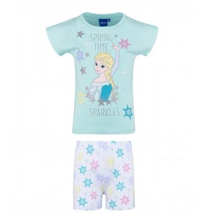Pijamale fete maneca scurta Disney Frozen bleu