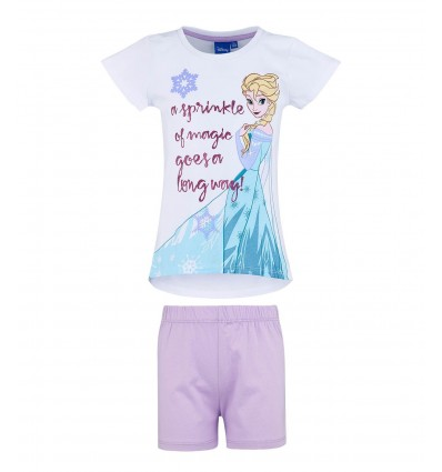 Pijamale fete maneca scurta Disney Frozen alb/ lila