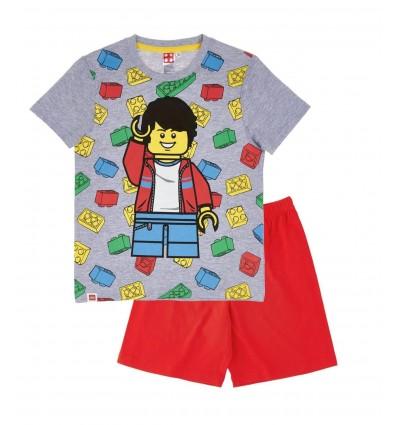 Pijamale maneca scurta Lego gri