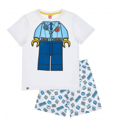 Pijamale maneca scurta Lego alb