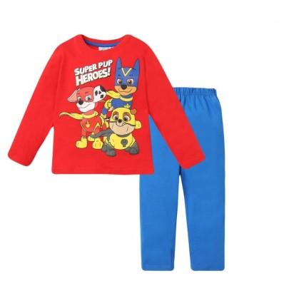 Pijamale Patrula Catelusilor maneca lunga rosu/albastru