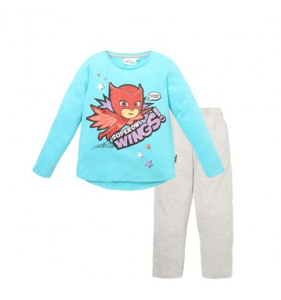 Pijamale fete PJ Masks bleu/gri
