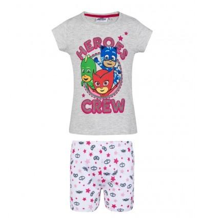 Pijamale fete PJ Masks gri/alb