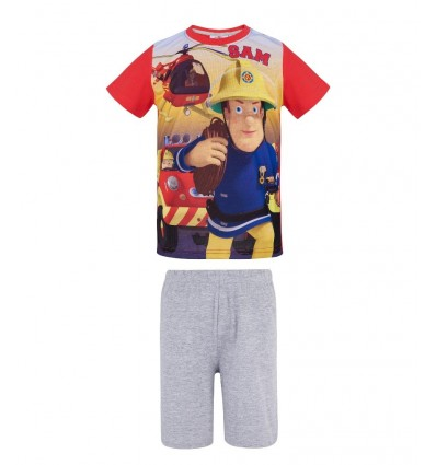 Pijamale maneca scurta Pompierul Sam rosu/ gri