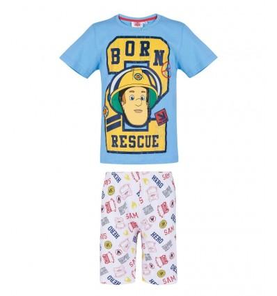 Pijamale maneca scurta Pompierul Sam bleu/ alb