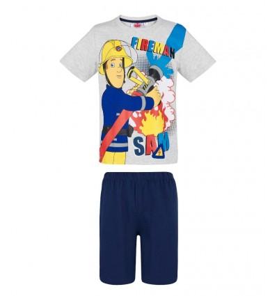 Pijamale maneca scurta Pompierul Sam gri/ bleumarin