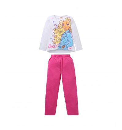 Pijamale fete Barbie alb/ roz