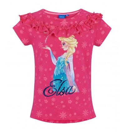 Tricou fete Disney Frozen roz fucsia