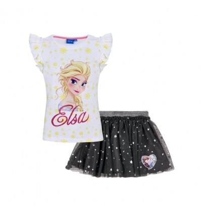 Set Disney Frozen tricou si fusta tutu gri deschis/ auriu
