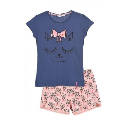 Pijamale NAF NAF Romantic girl, alb/ roz floral