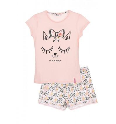 Pijamale NAF NAF Romantic girl, roz/ alb floral