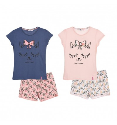 Pijamale NAF NAF Romantic girl, roz/ alb floral