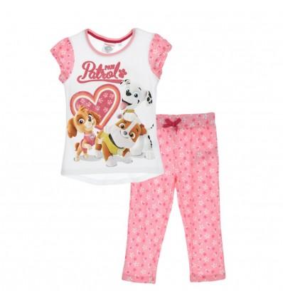 Pijama Patrula Catelusilor cu pantaloni 3/4, roz