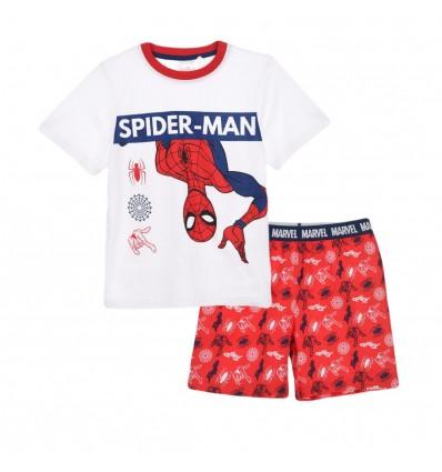 Pijamale maneca scurta Spiderman alb/rosu