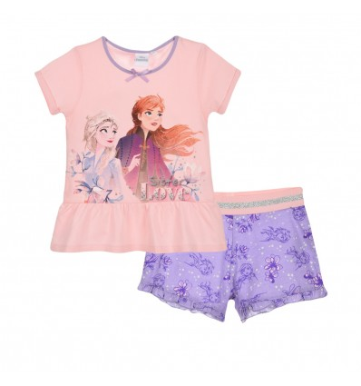 Pijamale maneca scurta Disney Frozen, roz/mov