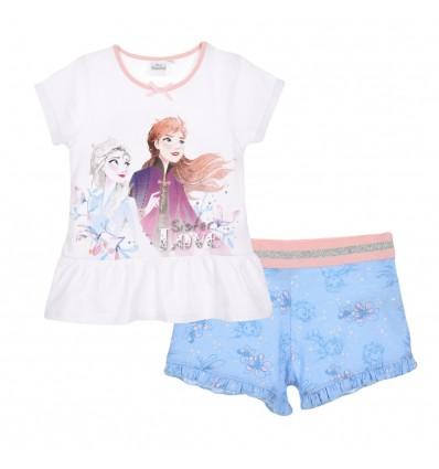 Pijamale maneca scurta Disney Frozen, alb/bleu