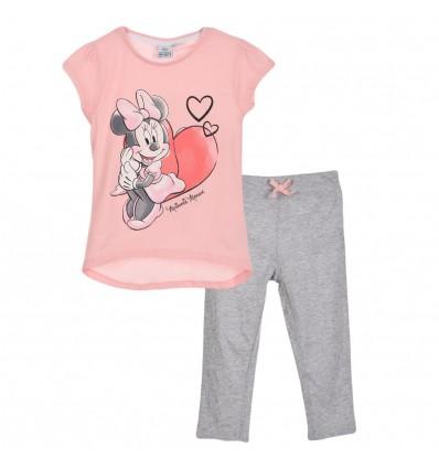 Pijamale Disney Minnie Mouse cu pantaloni 3/4, roz/gri