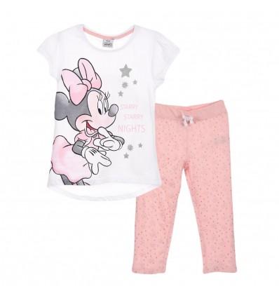 Pijamale Disney Minnie Mouse cu pantaloni 3/4, alb/roz