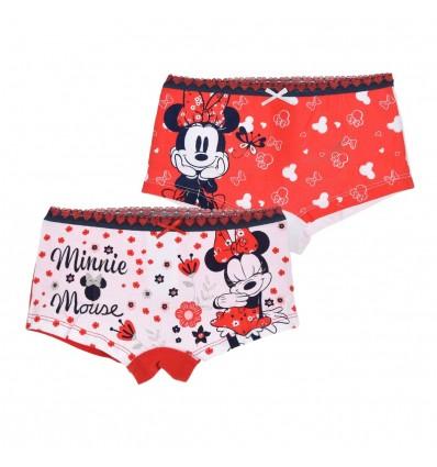 Set 2 perechi chilotei Disney Minnie Mouse, rosu/ alb