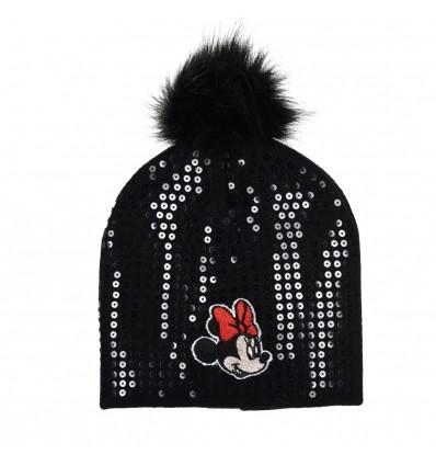 Caciula Disney Minnie Mouse cu mot si paiete, negru